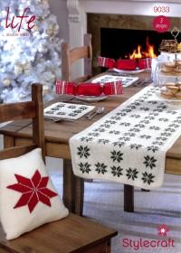 Stylecraft 9033 Life DK (downloadable PDF) Winter Fairisle Cushion, Table Mats & Table Runner