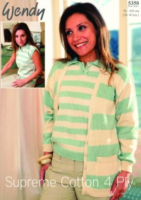 Wendy 5350 Ladies Cardigan and Sleeveless Top in Cotton 4 Ply (leaflet)