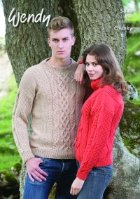Wendy 5846 Unisex Cable Sweaters in Merino Chunky (leaflet)