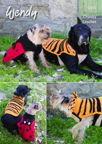 Wendy 5855 Crochet Ladybird and Tiger Dog Coats (leaflet)