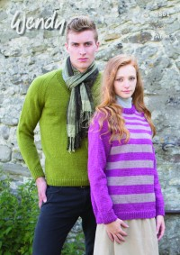 Wendy 5861 Crew and V Neck Sweater with Optional Stripe in Aran With Wool (downloadable PDF)