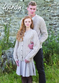 Wendy 5863 Round and V Neck Unisex Cardigans in Traditional Aran (downloadable PDF)