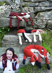 Wendy 5869 Animal Neck Pillows in Aran With Wool (downloadable PDF)