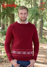 Wendy 5876 Raglan Christmas Sweater with Snowflake Fairisle Border in Chunky (leaflet)
