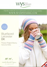 West Yorkshire Spinners Blue Faced Leicester DK - Floppy Ridged Beany Hat & Mitts (leaflet)