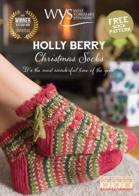 West Yorkshire Spinners - Holly Berry Christmas Socks by Emma Wright in Signature 4 Ply (downloadable PDF)