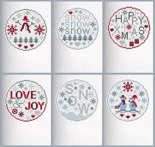 Riverdrift House - Red Christmas Stars - Christmas Cards (Cross Stitch Kit)