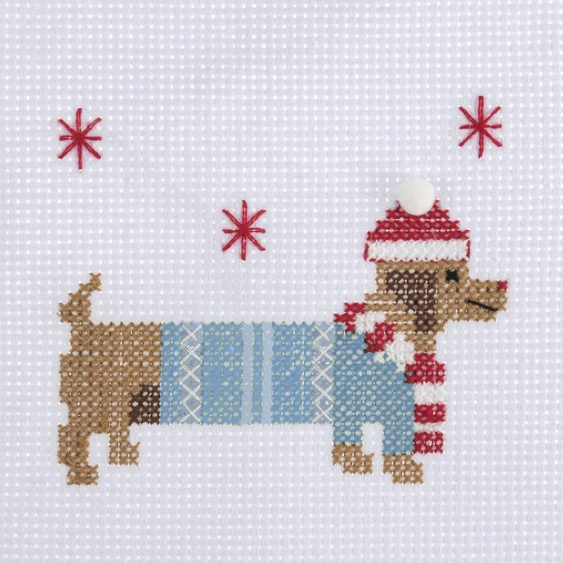 Trimits - Stitch Your Own - Mini Christmas Kit - Dachshund (Cross Stitch Kit)