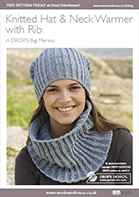 Free Pattern! Knitted Hat and Neck Warmer with Rib in DROPS Big Merino