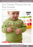 Free Pattern! Girls' Garden Flowers Fair Isle Yoke Sweater knitted in Caron Simply Soft