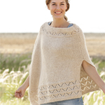Free Pattern! Knitted Poncho in Moss St with Lace Pattern in DROPS Air