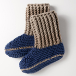 Free Pattern! Crocheted Slipper Socks in Bernat Softee Chunky