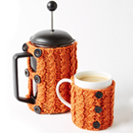 Free Pattern! Knitted Cafetiere and Mug Cosies in Caron Simply Soft