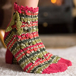 Free Pattern! 'Holly Berry' Knitted Socks in West Yorkshire Spinners Signature 4 Ply