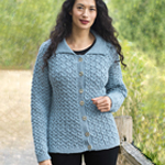 Free Pattern! Cables and Lace Cardigan knitted in Cascade 220 Superwash