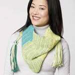 Free Pattern! Crocheted Neckerchief Scarf in Caron Cakes
