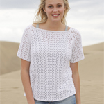 Free Pattern! 'Malena' Knitted Top with Lace Pattern in Drops Safran