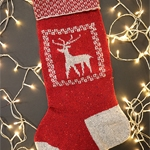 Free Pattern! Reindeer Christmas Stocking knitted in Rowan Valley Tweed