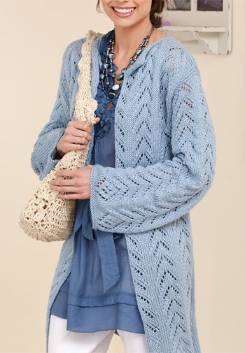 Free Pattern! Long and Lacy Knitted Jacket in Caron Simply Soft