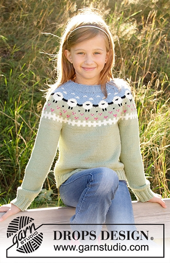 Free Pattern! 'Lamb Dance' Children's Sweater knitted in Drops Merino Extra Fine or Drops Lima