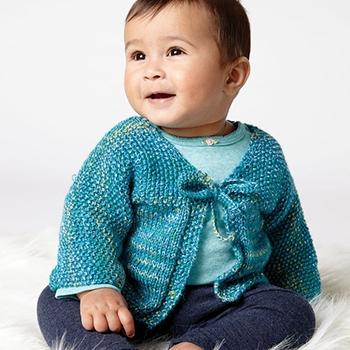 Free Pattern! 'Quick Stitch' Cardigan knitted in Bernat Softee Baby