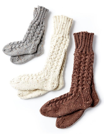 Free Pattern! Cosy Knit Cabin Socks in Caron Simply Soft Tweeds