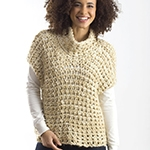 Free Pattern! Crocheted Cowl Vest in Caron Simply Soft