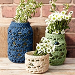 Free Pattern! Crocheted Jar Cosies in Lily Sugar 'n' Cream cotton
