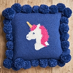 Free Pattern! Unicorn Cushion knitted in Patons Diploma DK