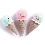 Free Pattern! Crocheted Ice Cream Rattles in Bernat Softee Baby