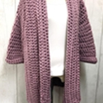 Free Pattern! Slouchy Cardigan crocheted in Cygent Seriously Chunky Metallics