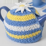 Free Pattern! Daisy Motif Tea Cosy crocheted in Lily Sugar 'n' Cream cotton