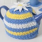 Free Pattern! Daisy Motif Tea Cosy crocheted in Lily Sugar 'n' Cream cotton