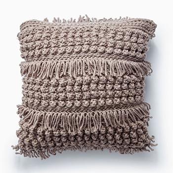 Free Pattern! 'Tassel and Texture' Crocheted Cushion in Bernat Softee Chunky