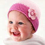 Crocheted Baby Hat with Flower in Rico Baby Cotton Soft DK