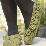 Crocheted 'Ballerina' Slippers with Lace Edges in DROPS Merino Extra Fine