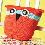 Knitted Owl Cushion in Caron Simply Soft