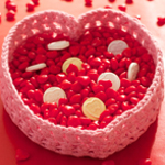 Free Pattern! Crocheted Valentine Heart Basket in Lily Sugar 'n Cream cotton