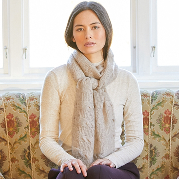 Serene Cable Knitted Scarf in Rowan Cashmere Haze